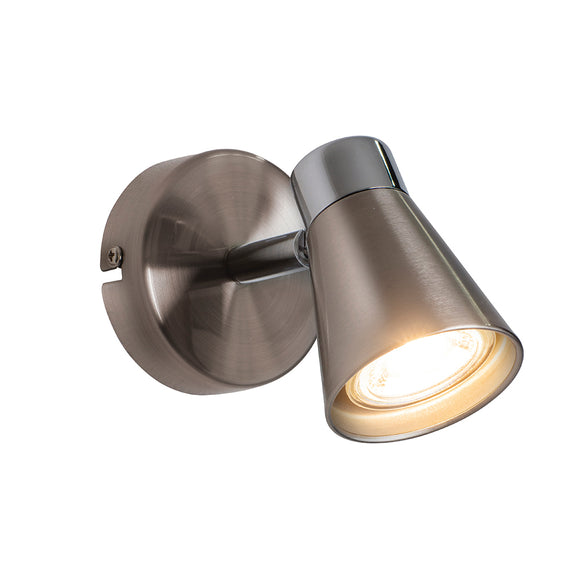 Endon Lighting 76202 Kai 1 Light Satin Nickel & Chrome Wall-Ceiling Spotlight