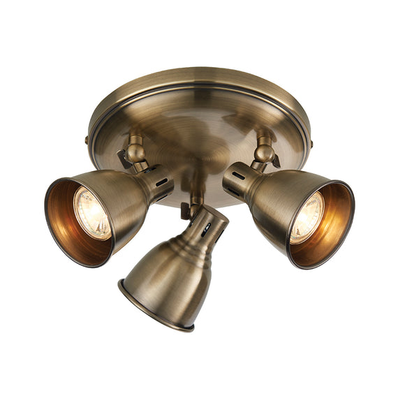 Endon Lighting 76279 Westbury 3 Light Antique Brass Round Ceiling Spotlight