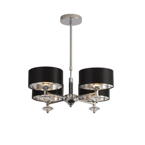 Searchlight 7654-4CC New Orleans 4 Light Chrome-Black Pendant Ceiling Light