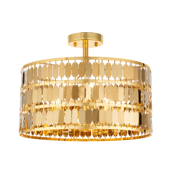 Endon Lighting 81964 Eldora 3 Light Gold Semi Flush Ceiling Light