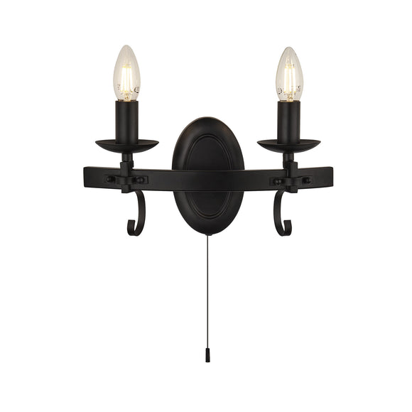 Searchlight 8902-2BK Cartwheel III 2 Light Iron-Matt Black Wall Light (Switched)