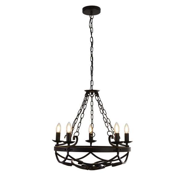Searchlight 8905-5BK Cartwheel III 5 Light Iron-Matt Black Pendant Ceiling Light