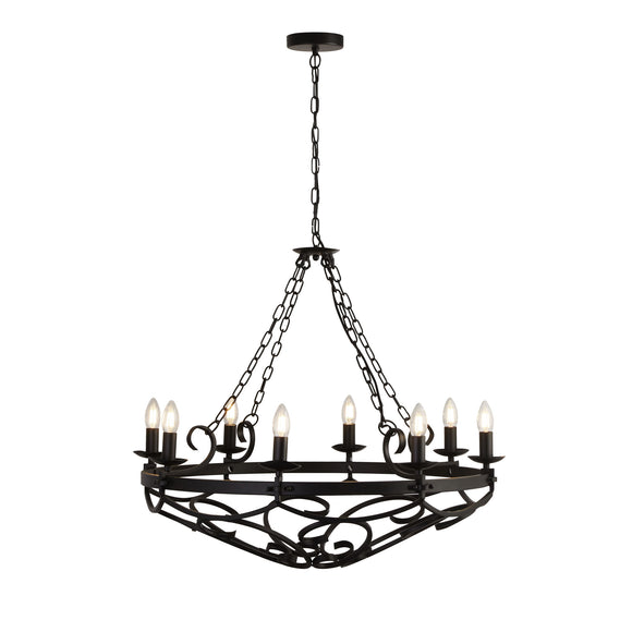 Searchlight 8908-8BK Cartwheel III 8 Light Iron-Matt Black Pendant Ceiling Light