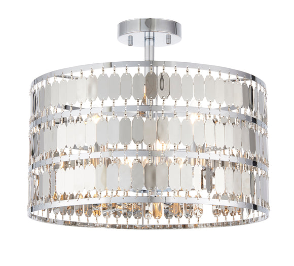 Endon Lighting 90297 Eldora 3 Light Chrome Semi Flush Ceiling Light
