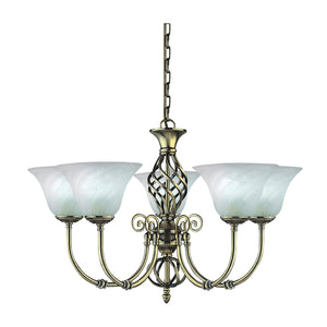 Searchlight 975-5 Cameroon 5 Light Antique Brass Pendant Ceiling Light