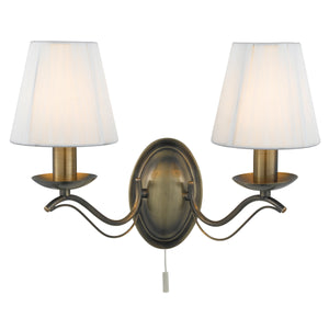 Searchlight 9822-2AB Andretti 2 Light Antique Brass Wall Light