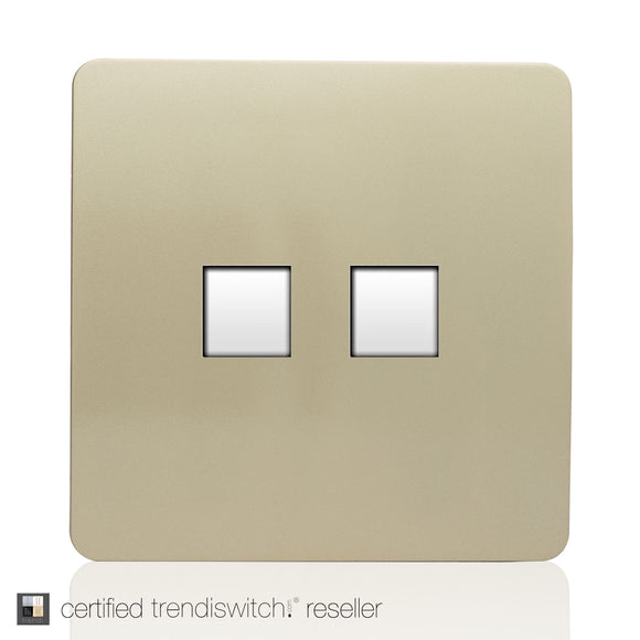 Trendi Switch ART-2PCGO Twin PC Ethernet Cat 5&6 Data Outlet Champagne Gold Finish