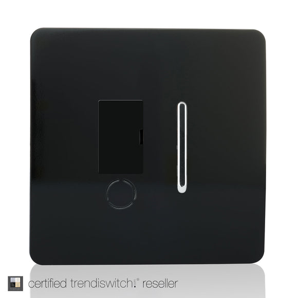 Trendi Switch ART-FSBK Switch Fused Spur 13A With Flex Outlet Gloss Black Finish