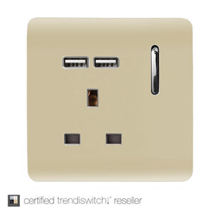 Trendi Switch ART-SKT13USBGO 1 Gang 13Amp Switched Socket With 2 x USB Ports Champagne Gold Finish
