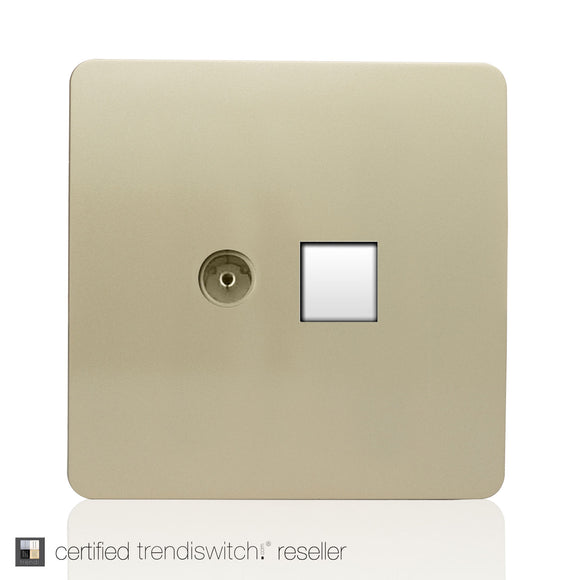 Trendi Switch ART-TV+PCGO TV Co-Axial & PC Ethernet  Champagne Gold Finish