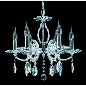 Impex Lighting CE07100-06-CH Rouen 6 Light Polished Chrome And Crystal Pendant Ceiling Light