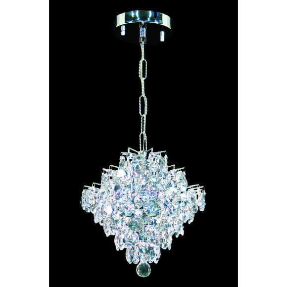 Impex Lighting CEH01081-01-CH Diamond 1 Light Polished Chrome And Crystal Pendant Ceiling Light