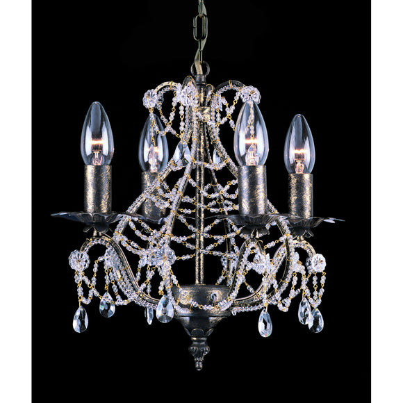 Impex Lighting CF04716-04-AS Montpellier 4 Light Antique Silver And Crystal Pendant Ceiling Light