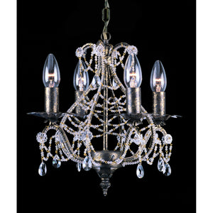 Impex Lighting CF04716-04-CG Montpellier 4 Light Cream Gold And Crystal Pendant Ceiling Light