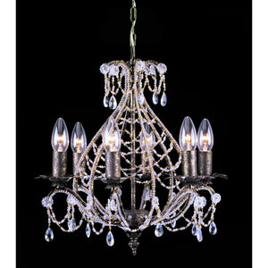 Impex Lighting CF04716-06-AS Montpellier 6 Light Antique Silver And Crystal Pendant Ceiling Light