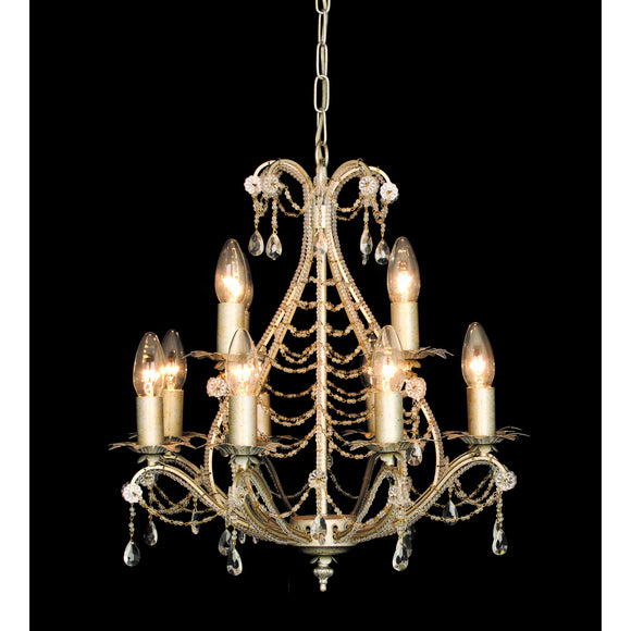 Impex Lighting CF04716-12-CG Montpellier 12 Light Cream Gold And Crystal Pendant Ceiling Light