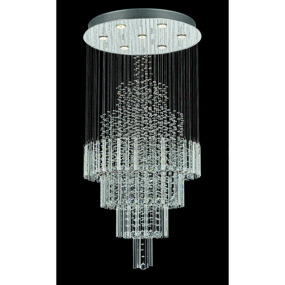 Impex Lighting CF110281-07-CH Barcelona 7 Light Polished Chrome And Crystal Pendant Ceiling Light
