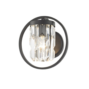 Impex Lighting CF1703-01-WB-BLK Talin 1 Light Black And Crystal Wall Light