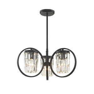 Impex Lighting CF1703-03-BLK Talin 3 Light Black And Crystal Dual Mount Ceiling Light