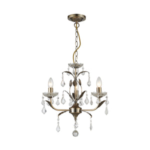 Impex Lighting CF1706-03-AB Evon 3 Light Antique Brass And Crystal Pendant Ceiling Light
