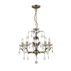 Impex Lighting CF1706-05-AB Evon 5 Light Antique Brass And Crystal Pendant Ceiling Light