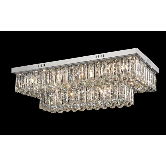 Impex Lighting CF1708-12-CH Lilou 12 Light Polished Chrome And Crystal Pendant Ceiling Light