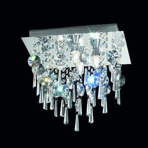Franklite CF5721 4 Light Chrome Flush Ceiling Light With Crystal Drops