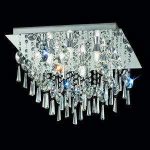 Franklite CF5722 6 Light Chrome Flush Ceiling Light With Crystal Drops