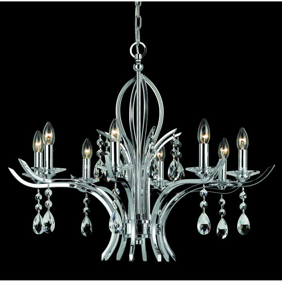 Impex Lighting CF911231-08-GM Turin 8 Light Gun Metal And Crystal Pendant Ceiling Light