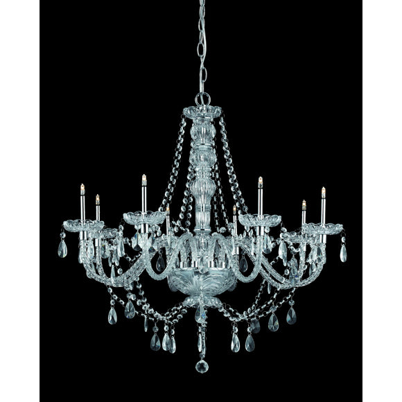Impex Lighting CFH011021-08-CH Imperia 8 Light Polished Chrome And Crystal Pendant Ceiling Light