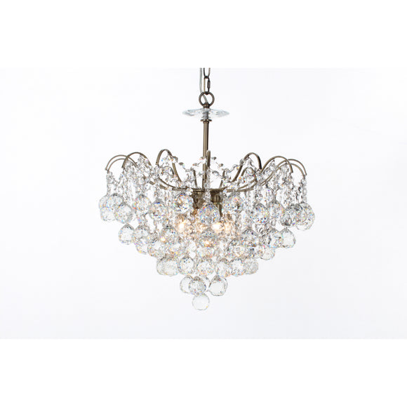 Impex Lighting CFH40109-05-AB Emmie 5 Light Antique Brass And Crystal Pendant Ceiling Light