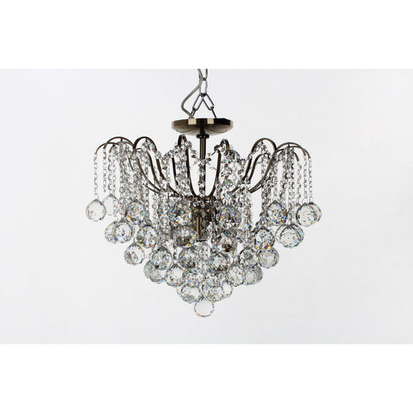 Impex Lighting CFH40109-05-SF-AB Emmie 5 Light Antique Brass And Crystal Semi-Flush Ceiling Light