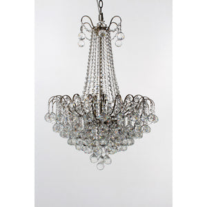 Impex Lighting CFH40109-09-AB Emmie 9 Light Antique Brass And Crystal Pendant Ceiling Light