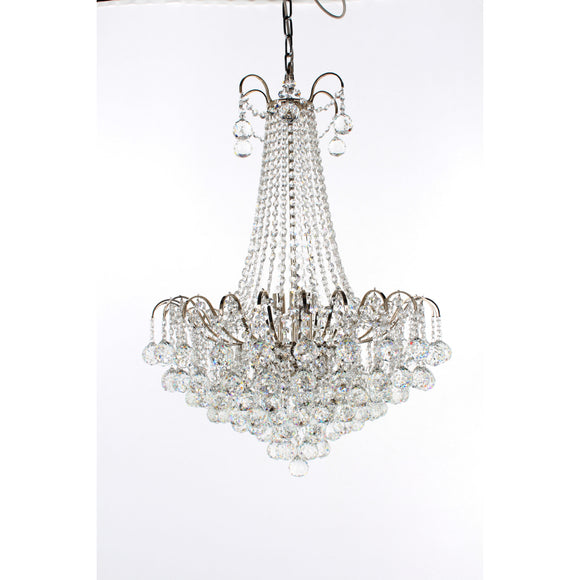 Impex Lighting CFH40109-09-CH Emmie 9 Light Polished Chrome And Crystal Pendant Ceiling Light