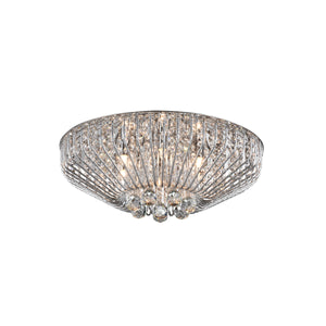 Impex Lighting CFH508052-06-PL-CH Carlo 6 Light Polished Chrome And Crystal Flush Ceiling Light