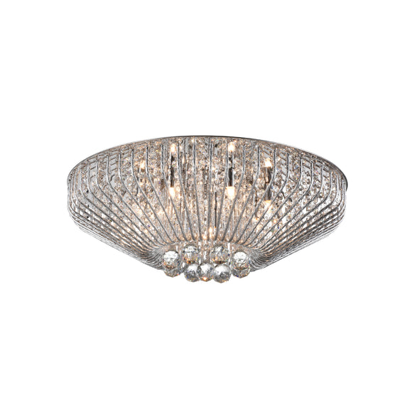 Impex Lighting CFH508052-07-PL-CH Carlo 7 Light Polished Chrome And Crystal Flush Ceiling Light