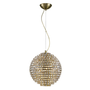 Impex Lighting CFH608241-L-G Nord 4 Light Gold And Crystal Pendant Ceiling Light