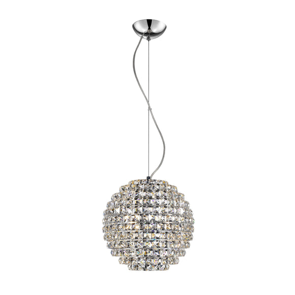 Impex Lighting CFH608241-S-CH Nord 4 Light Polished Chrome And Crystal Pendant Ceiling Light