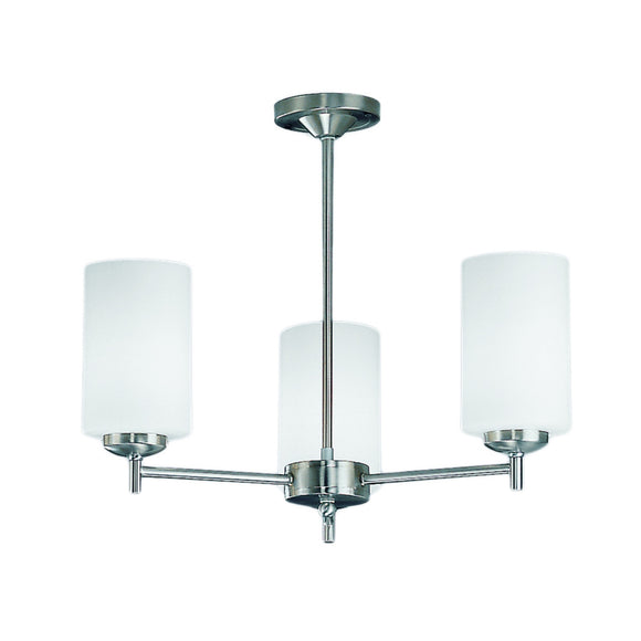 Franklite CO9303-727 Decima 3 Light Satin Nickel Semi Flush Ceiling Light With Opal Glass Shades
