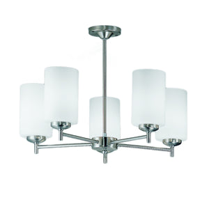 Franklite CO9305-727 Decima 5 Light Satin Nickel Semi Flush Ceiling Light With Opal Glass Shades