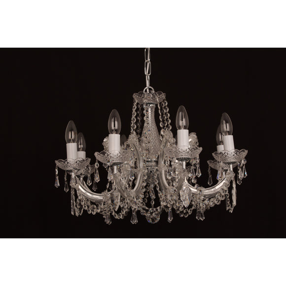 Impex Lighting CP00150-08-CH Marie Theresa 8 Light Polished Chrome And Crystal Pendant Ceiling Light