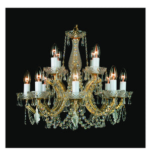 Impex Lighting CP00150-8+4-CH Marie Theresa 12 Light Polished Chrome And Crystal Pendant Ceiling Light