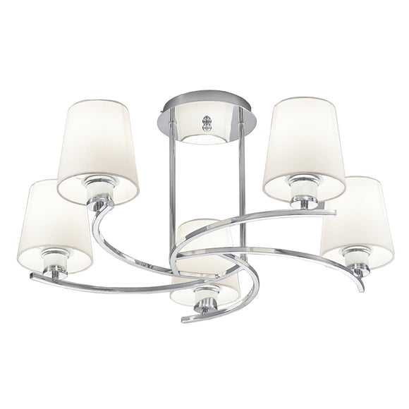 Franklite FL2082-5-1123 Hexx 5 Light Polished Chrome Semi Flush With Cream Fabric Shades
