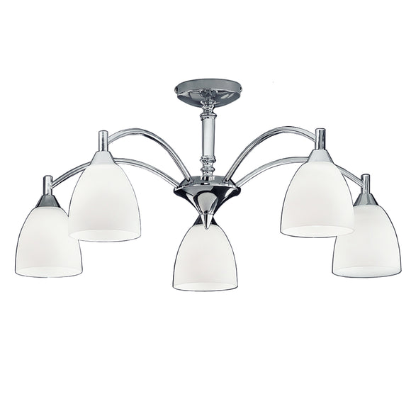 Franklite FL2087-5 Emmy 5 Light Polished Chrome Semi Flush Ceiling Light