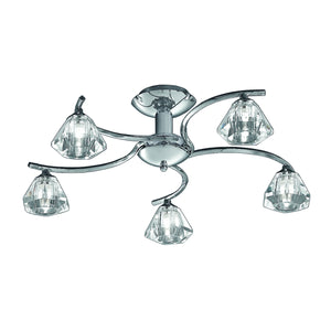 Franklite FL2162-5 Twista 5 Light Polished Chrome Semi Flush Ceiling Light