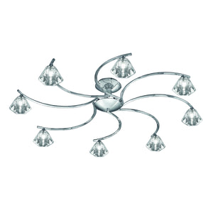 Franklite FL2162-8 Twista 8 Light Polished Chrome Semi Flush Ceiling Light