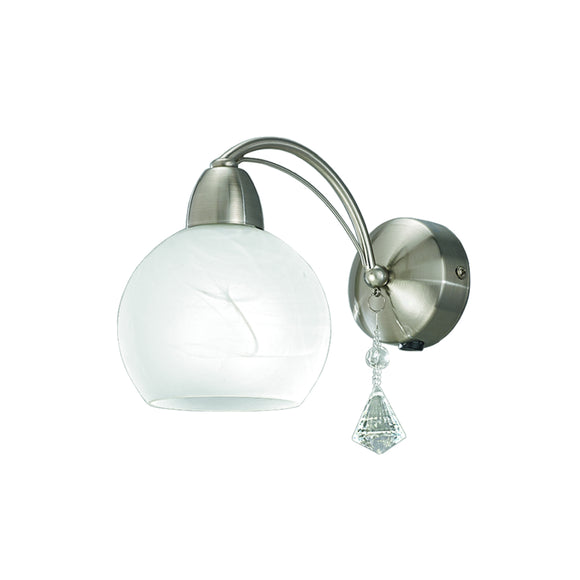 Franklite FL2277-1 Thea 1 Light Satin Nickel Wall Light Switched