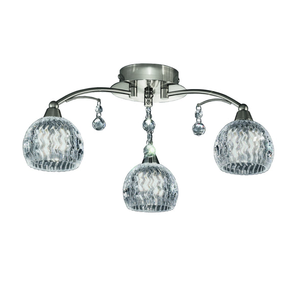 Franklite FL2295/3 Jura 3 Light Satin Nickel Semi Flush Ceiling Light