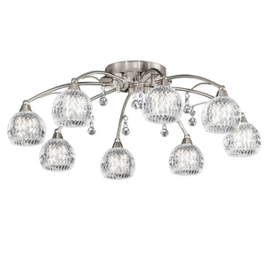 Franklite FL2295/8 Jura 8 Light Satin Nickel Semi Flush Ceiling Light