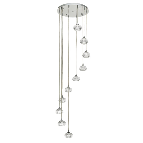 Franklite FL2343-10 Tizzy 10 Light Polished Chrome Pendant Ceiling Light